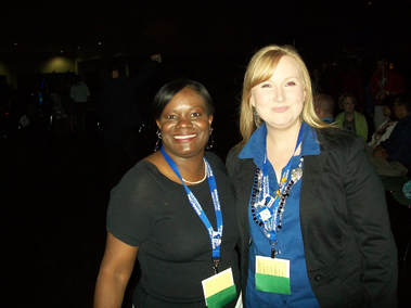 Paulette Smith at the National DECA Conference in Florida with another adviser.